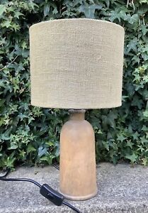 RETRO MID CENTURY STYLE HAND TURNED WOODEN TABLE LAMP & SHADE ~ SHABBY CHIC
