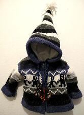 Lana Pixie chaqueta de invierno de lana Festival Con Capucha Y Abrigo Nepal childrens/kids 1 Año +