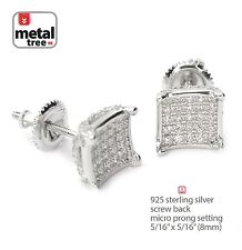 REAL 925 Silver Men's Hip Hop Caved Block Square Screw Back Stud Earring 458S