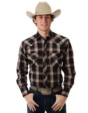 Roper Western Shirt Mens L/S Plaid Snap Size L Black 01-001-0101-0792 BL