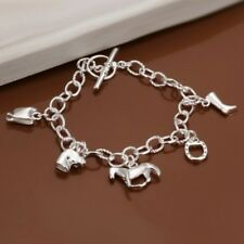 Sterling Silver 5 Charms Chain Bracelet