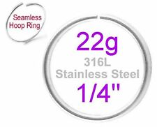 "22g Thin 1/4"" (6mm) Stainless Steel Seamless Hoop Ring Nose Ear Septum Cartilage"