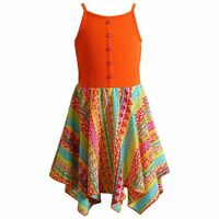 Youngland Girls Handkerchief Hem Sun Dress Sz 5 OR 6 NWT Orange OR Pink