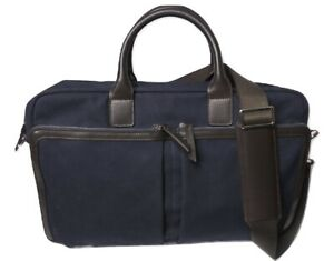 Brooks Brothers Mens Canvas Briefcase Navy Blue Retail $368