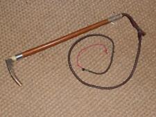 Antique Gents Hunt Whip & leather plaited lash, Hallmarked Silver London '1918'