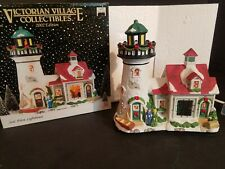 Year 2002 Victorian Village Lighted Seal Point Lighthouse In Box