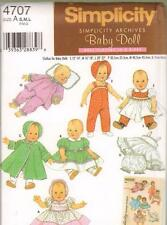 """Simplicity Archives Doll Clothes Sewing Pattern 4707 Baby Dolls 12"""" - 22"""""""
