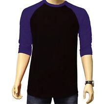 3/4 Sleeve Raglan Baseball Mens Plain Tee Jersey Sports TShirt Black Purple 2XL