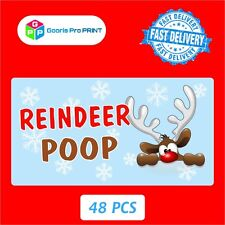 48x Christmas REINDEER POOP Stickers Xmas Gift Seal, Label Tag X49