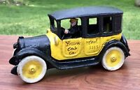 Cast Iron Yellow Arcade 4-Door Vintage Taxi Cab Toy