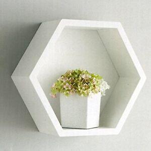 White Hexagon Floating Box Shelf - Bookcases, Shelving & Storage G-0307