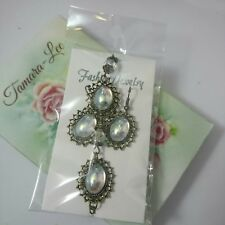 EDWARDIAN Vintage West Germany crystal clear AB earring bracelet set