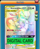 Mewtwo & Mew GX Rainbow Rare - 242/236 Unified Minds PTCGO Online Digital Card