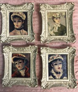 4 Vintage Framed Cherry Jeffe Huldah Signed Young Women Art
