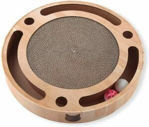 Necoichi Cat Scratcher Cardboard Scratch Pad Circle 40cm& 2 Balls Set