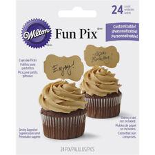 Wilton 24pc Kraft Paper Unbleached Customizable Fun Pix Border Cupcake Picks