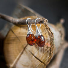Baltic Amber Earrings Dnagle Aesthetic Earrings Sterling Silver Drop Earrings