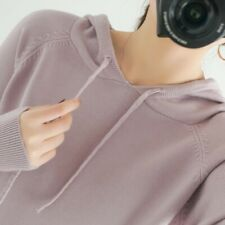 Women Loose Knitting Faux Cashmere Hooded Sweater Hoodie Casual Warm Pullovers B