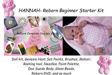 Reborn HANNAH Baby Doll Complete Starter Beginner Kit, Genesis paints, Mohair NR