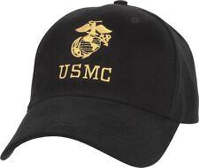 Black USMC Globe & Anchor Logo Adjustable Cap Baseball Hat