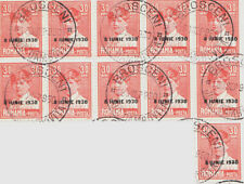 Romania 30 Bami block of 11 overprinted 8 June 1930 canceled Brosceni