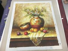 S WESTON Original Oil Painting Flowers Nature Fruit Cultural NICE