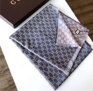 GUCCI Wool and Silk GG Gray Color Shawl Scarf 140cm x 140cm Women