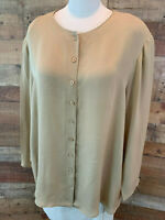 JONES NEW YORK WOMAN 24W~4X Plus Tan Long-Sleeve Silk Button-Shirt Top NWOT