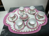 Servizio francese caffè Paris Royal completo porcellana dipinta a mano tazzina