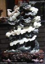 Chinese Dushan Stone Jade PineTree Red-crowned Crane Macrobiosis Fengshui Statue