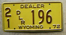 1972 WYOMING DEALER LICENSE PLATE # 196