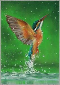original drawing A4 101DmO art samovar Realism pastel animal bird Signed 2021