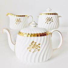 BEAUTIFUL MINTON GOLD ROSE TEA SET WHITE AND GOLD ROSE TEAPOT SUGAR AND CREAMER
