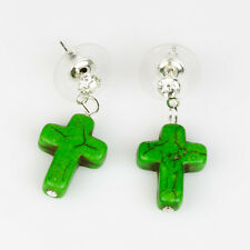 Green Cross Ear Studs with Genuine Turquoise Gemstone Boho Punk