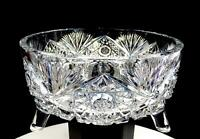 "BRILLIANT CUT CRYSTAL HOBSTAR AND FAN HEAVY 7 3/4"" TRI-FOOTED BOWL"