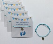 5 X Bracelets BABY SHOWER Feet blue charms adjustable wax cord Mum boy/girl gift
