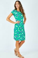 BNWT Lily and Me St Austel Green Blue Floral Size 8 Linen Mix Dress RRP £64.00