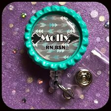 FOLLOW YOUR ARROW PERSONALIZED Name Bottle Cap ID Badge Holder Lanyard Work Clip