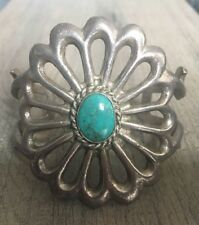 "LARGE (2 1/2"") OLD VINTAGE NAVAJO SPIDERWEB TURQUOISE & STERLING SANDCAST CUFF"