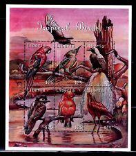 SELLOS AVES LIBERIA 2001 PÁJAROS TROPICALES SCARLET MACAW 6v. MINIHOJA