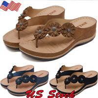 Womens Platform Wedge High Heels Sandals Flowers Summer Flip Flops Shoes Size