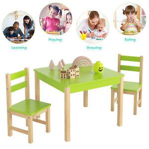 Kindersitzgarnitur Kindersitzgruppe Kindertisch mit 2 Stühlen Kiefernholz Grün