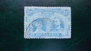 RHODESIA BSAC GV DOUBLE HEADS 2 1/2D PERF 14 BANKET JUNCTION DC FINE USED