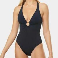 Bleu Rod Beattie 260710 Plunge Ring One Piece Swimsuit Black Size 10