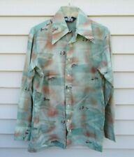 Vintage 70s LEVI'S Hunting Bird Pointy Collar Shirt (no tag) Fits Medium