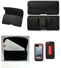 IPHONE 5 5c 5s&SE HOLSTER BELT LOOP CLIP LEATHER POUCH FIT WITH A HYBRID CASE ON
