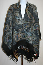 Womens Ladies Pashmina Shawl Wrap Black Blue Quirinus Poncho One Size