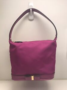 SALVATORE FERRAGAMO Bag Bow Nylon Leather Logo Raspberry Gold Zip Small