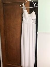 One Shoulder White Gown/dress with Jewels Size 11