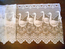 "NET 54"" WIDE USED CURTAIN 18"" DROP WHITE BIRDS SLOTTED SCALLOPS KITCHEN GEESE"